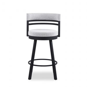 Ronny Swivel Stool in Merino and Black Coral, Front