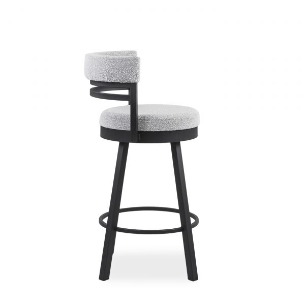 Ronny Swivel Stool in Merino and Black Coral, Side
