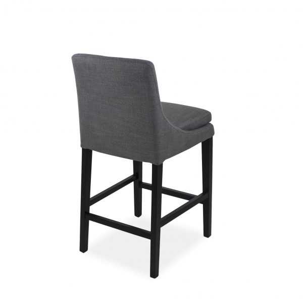 Terence Counter Stool in Smoke with Wenge Legs, Back