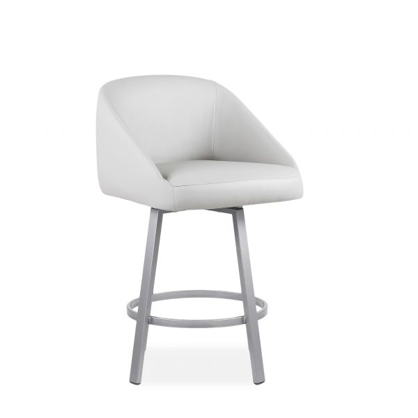 Wembley Swivel Stool in Parchment, Angle, 2