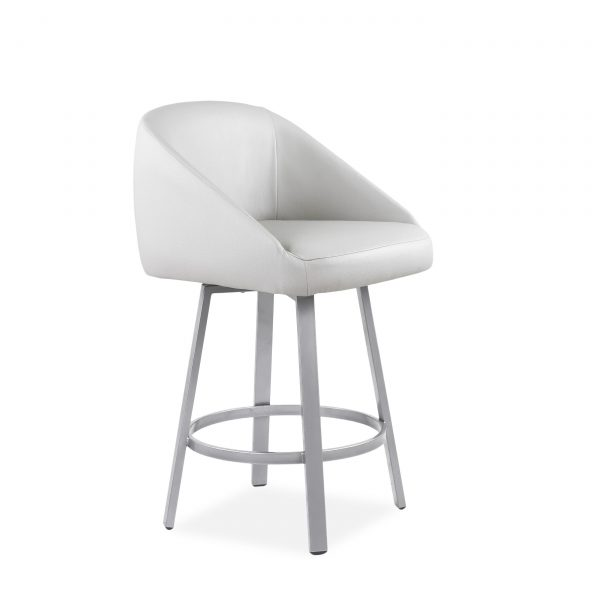 Wembley Swivel Stool in Parchment, Angle