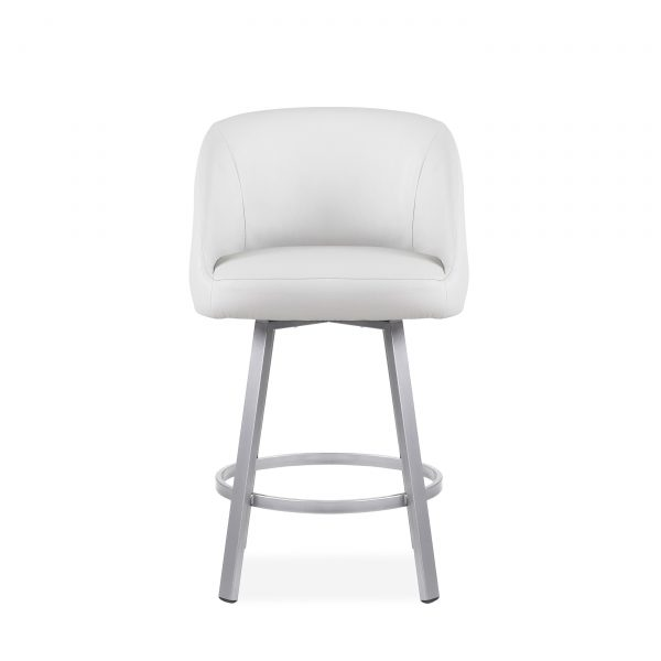 Wembley Swivel Stool in Parchment, Front