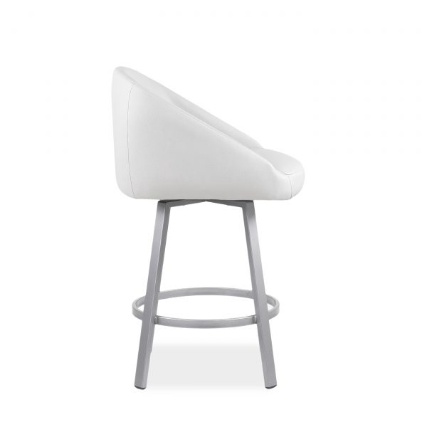 Wembley Swivel Stool in Parchment, Side