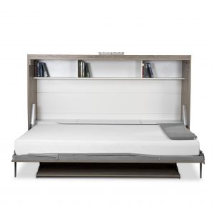 Horizontal Wall Bed and Desk, Bed Open, Showing Book Shelf and 3 Cubbies Closed