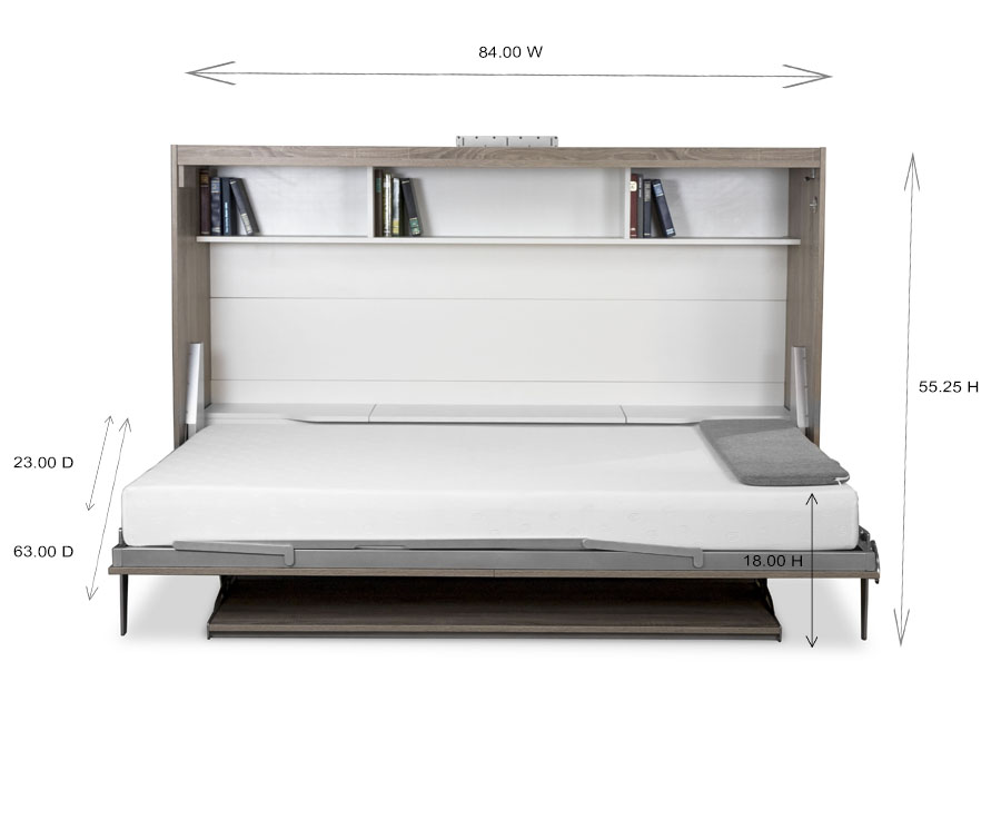 Horizontal Wall Bed and Desk Dimensions