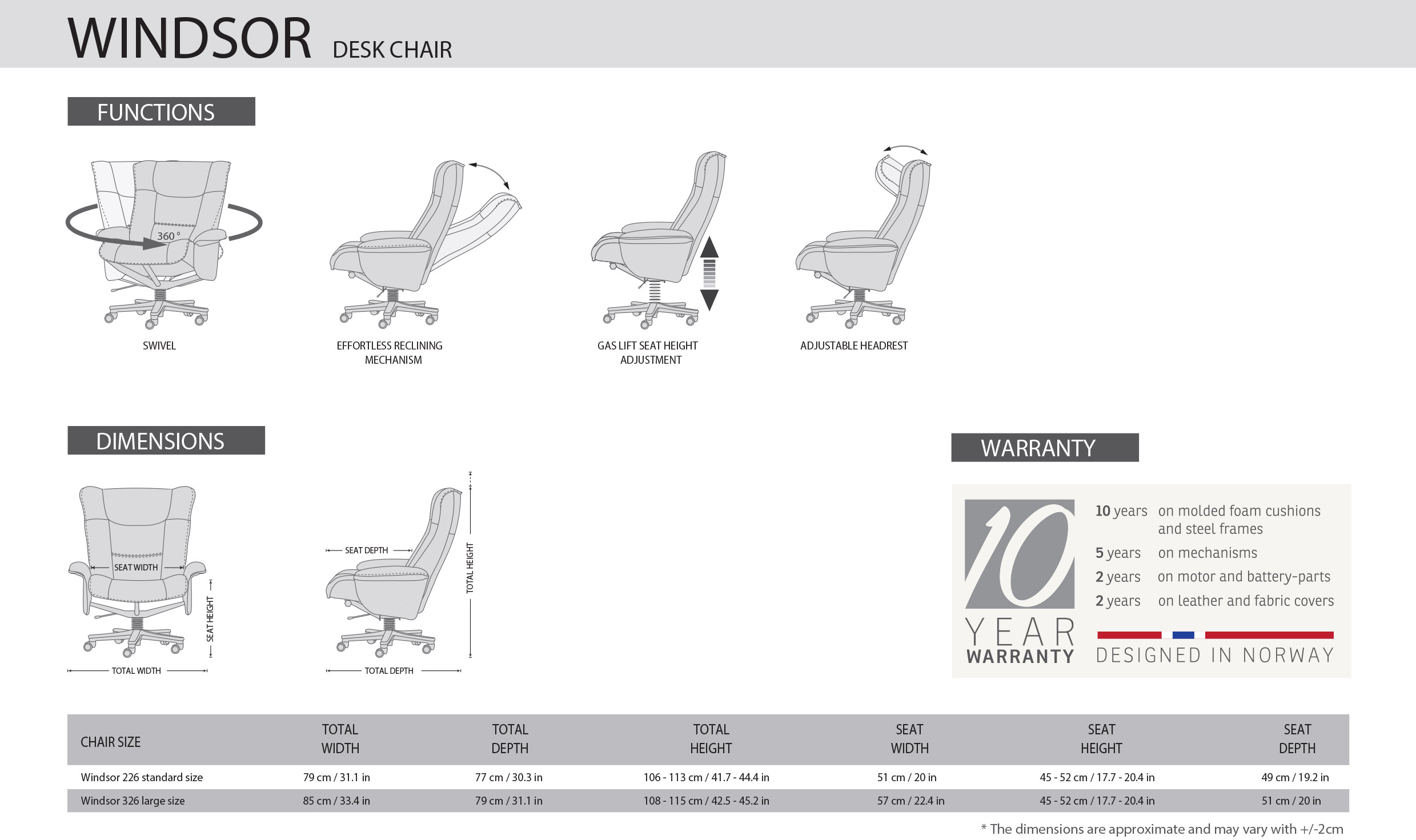 IMG Windsor Office Chair Dimensions