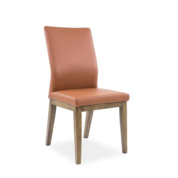 Lena Dining Chair in Tan Leather, Walnut Legs, Angle