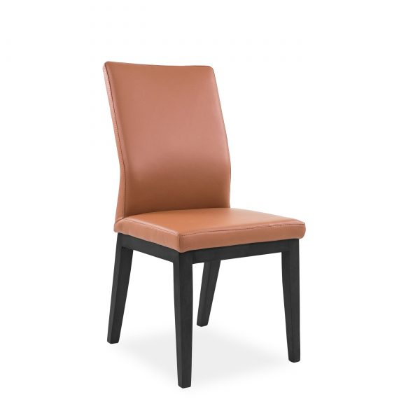 Lena Dining Chair in Tan Leather, Black Legs, Angle