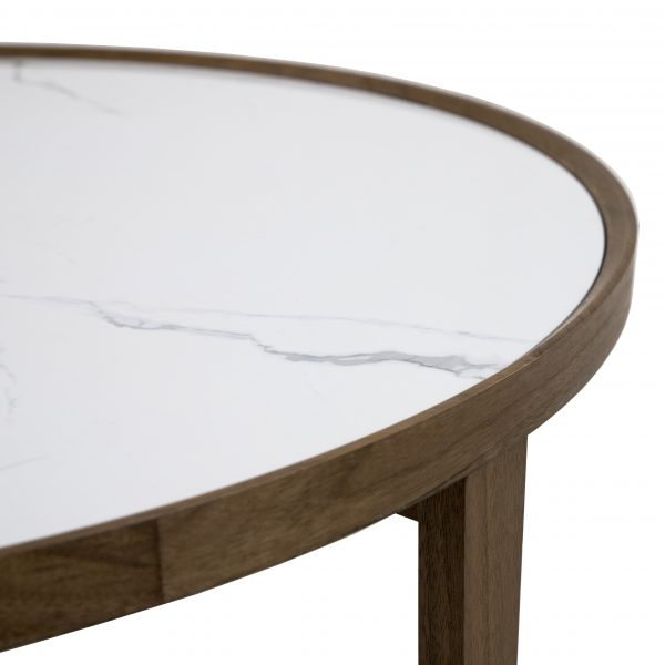Ophelia Coffee Table with a White Ceramic Top and Walnut Base, Close Up
