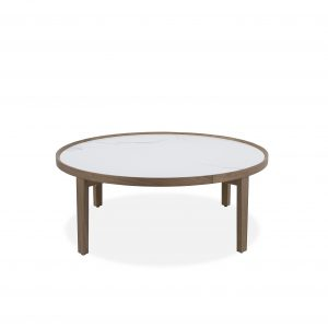 Ophelia Coffee Table with a White Ceramic Top and Walnut Base, Front