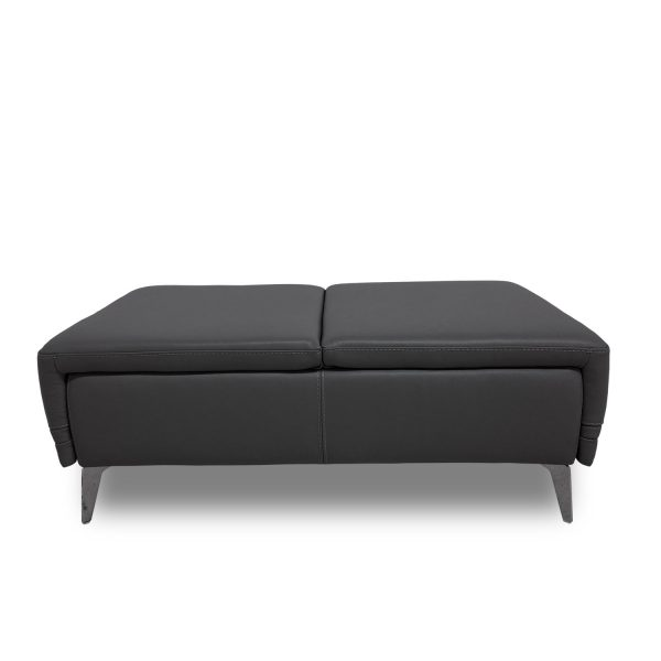 Sophie Ottoman in Slate Leather, Straight