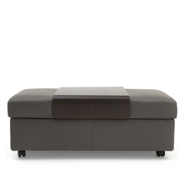 Stressless Double Ottoman in Metal Grey Leather with a Wenge Table, Straight