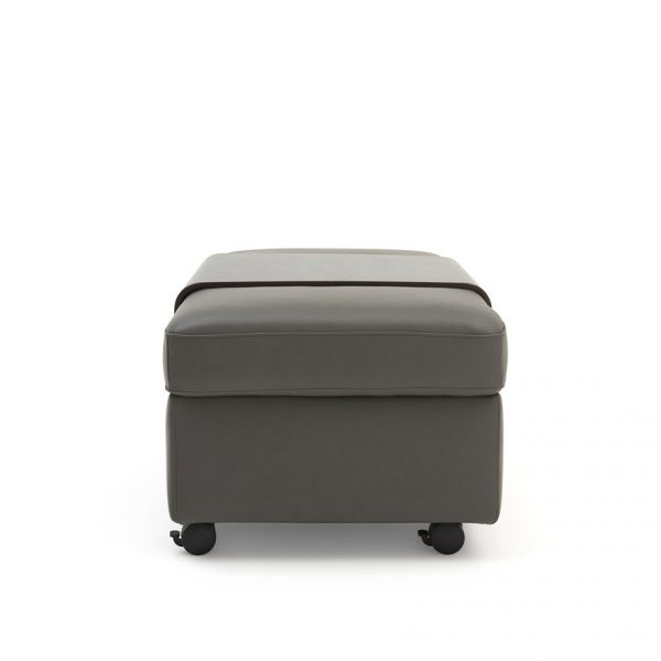 Stressless Double Ottoman in Metal Grey Leather with a Wenge Table, Side