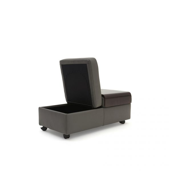 Stressless Double Ottoman in Metal Grey Leather with a Wenge Table, Storage Open