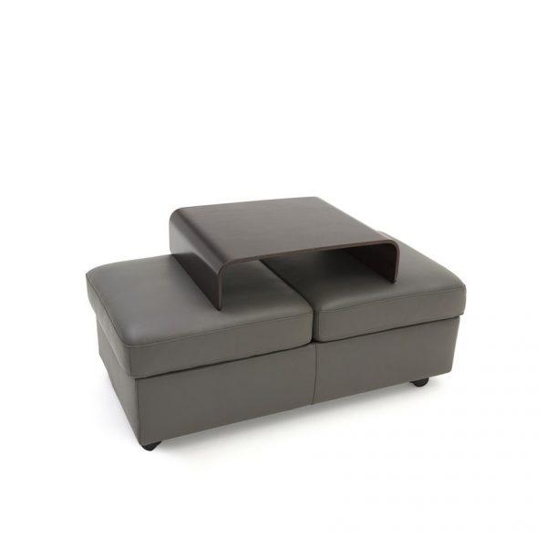 Stressless Double Ottoman in Metal Grey Leather with a Wenge Table, Angle, Top