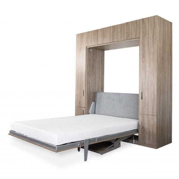 Tall Wall Bed and Desk, Bed Open, Angle