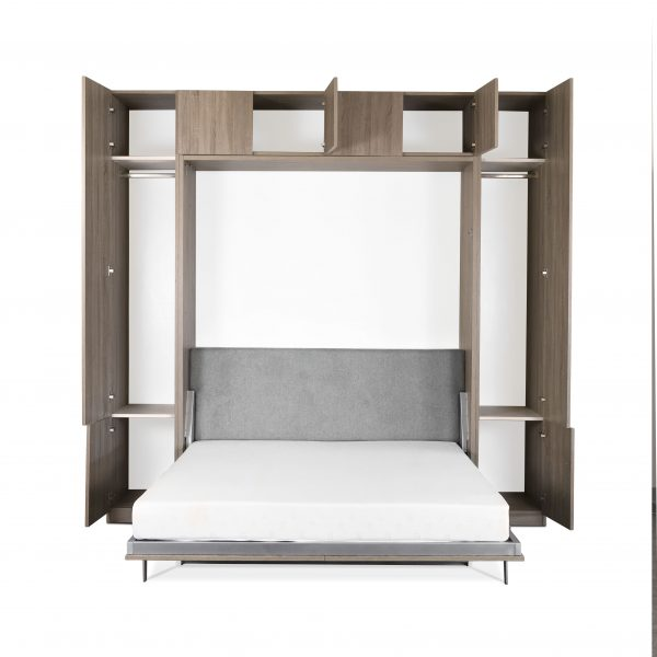 Tall Wall Bed and Desk, Bed Open, Doors Open