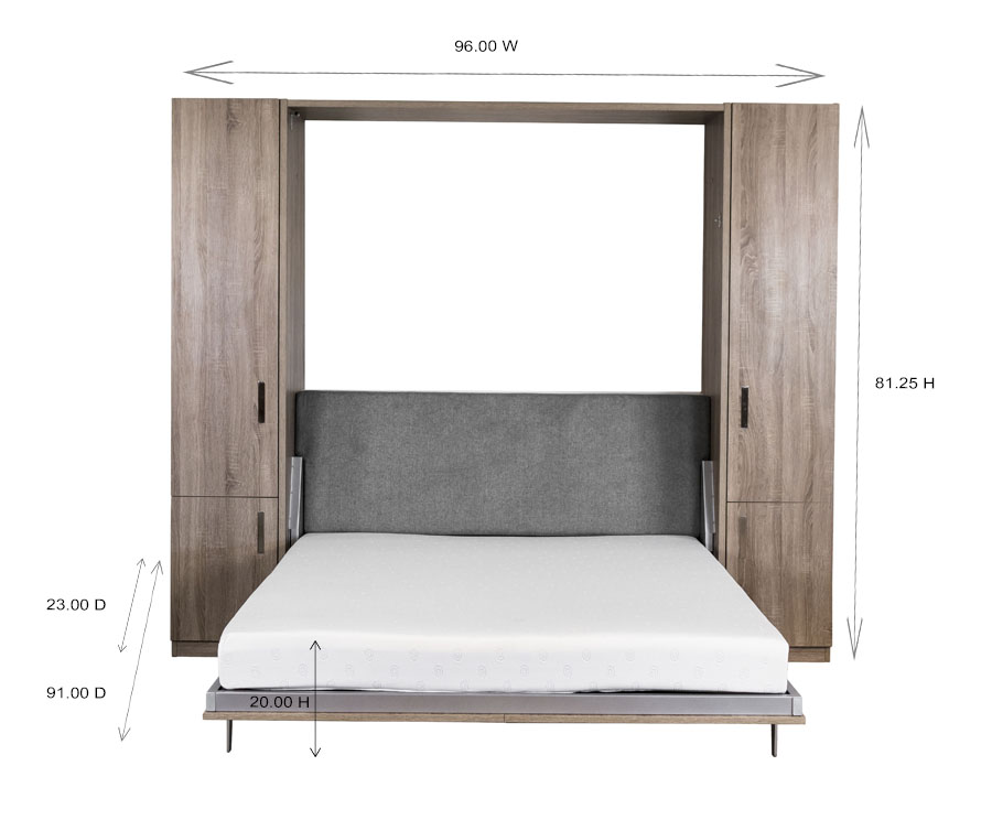 Verticle Wall Bed and Desk Dimensions
