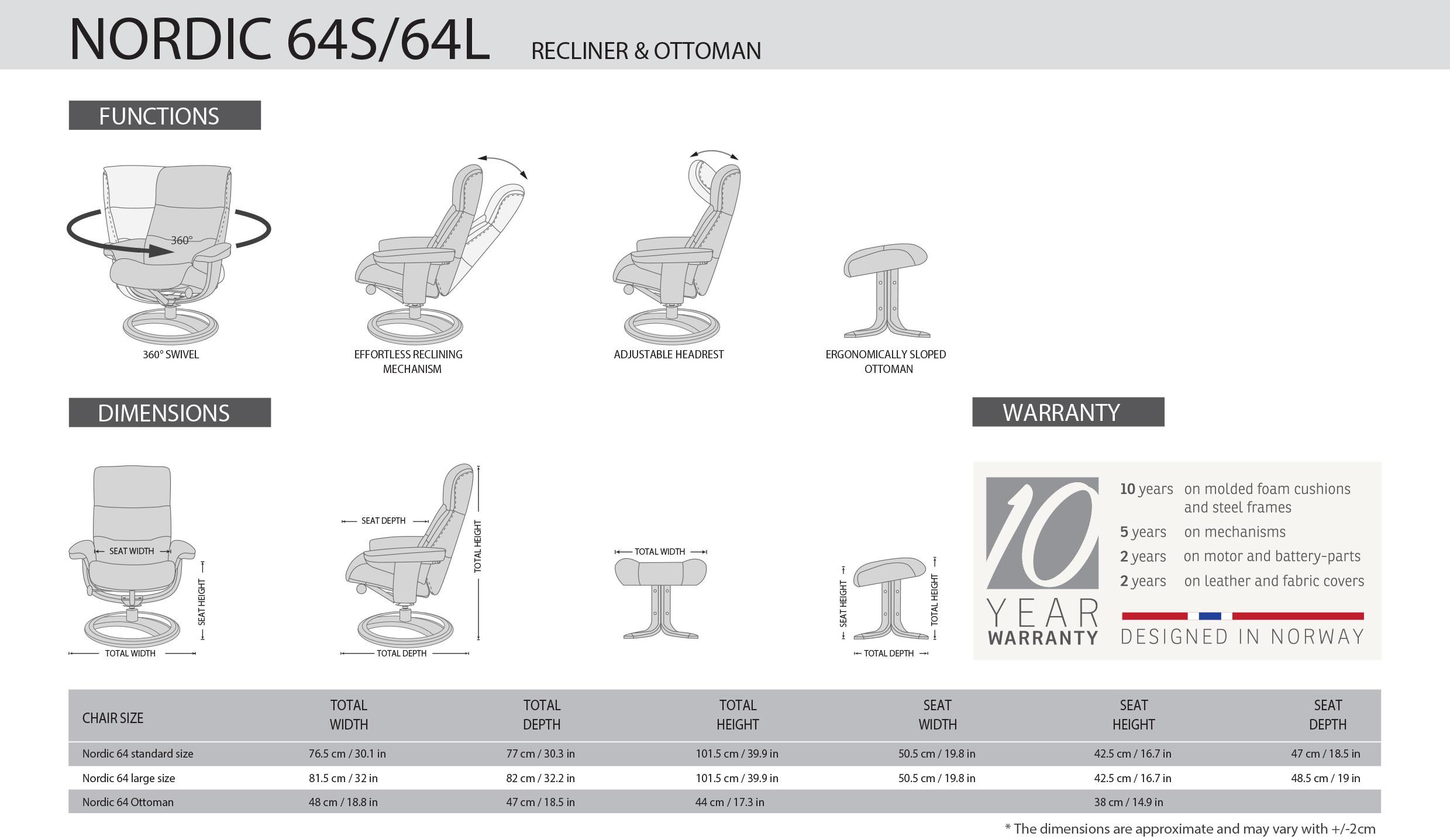 IMG Nordic 64S / 64L Recliner Dimensions