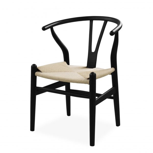 Mia Dining Chair in Black, Angle