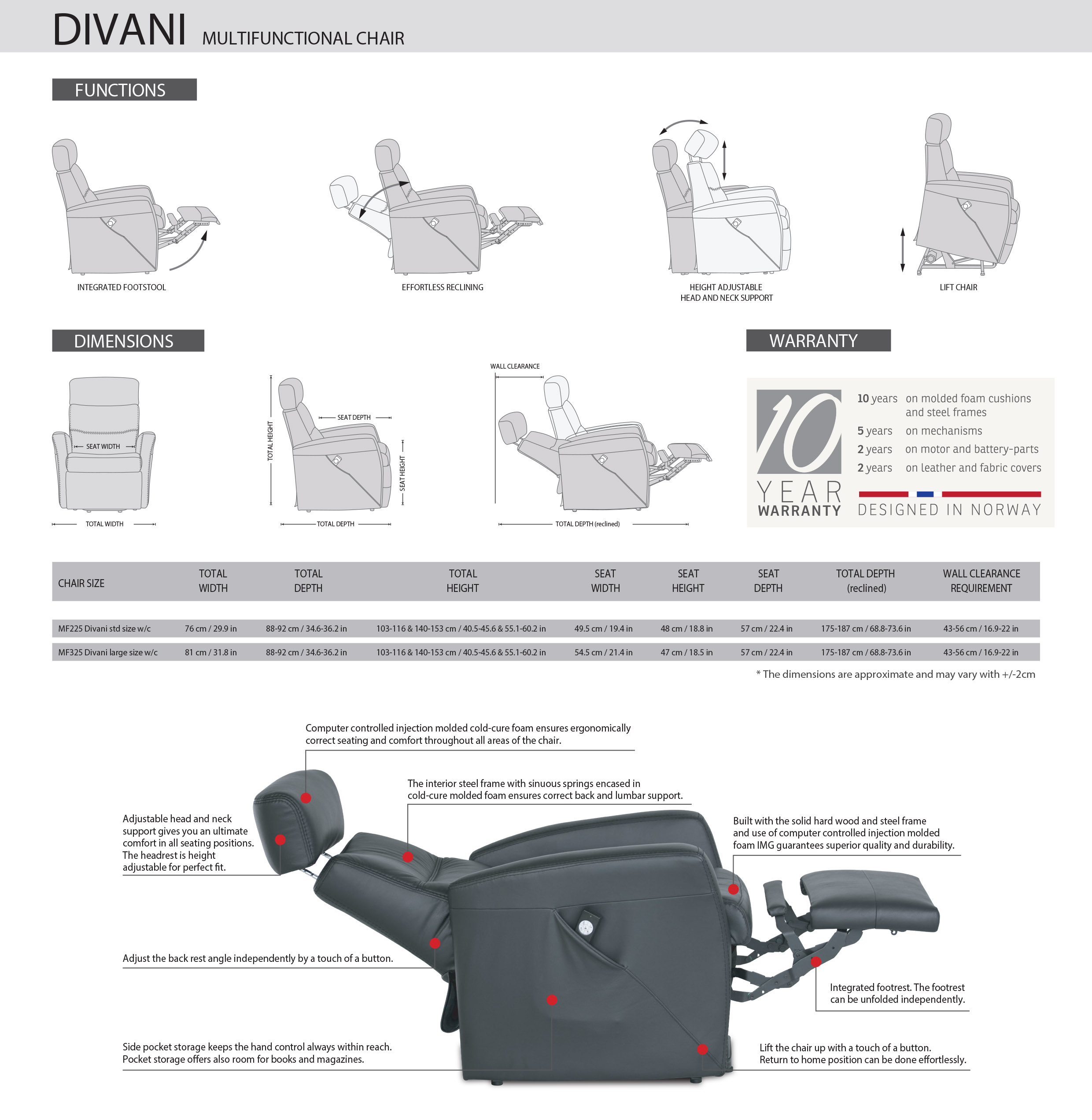 Divani Multi-function Recliner Dimensions