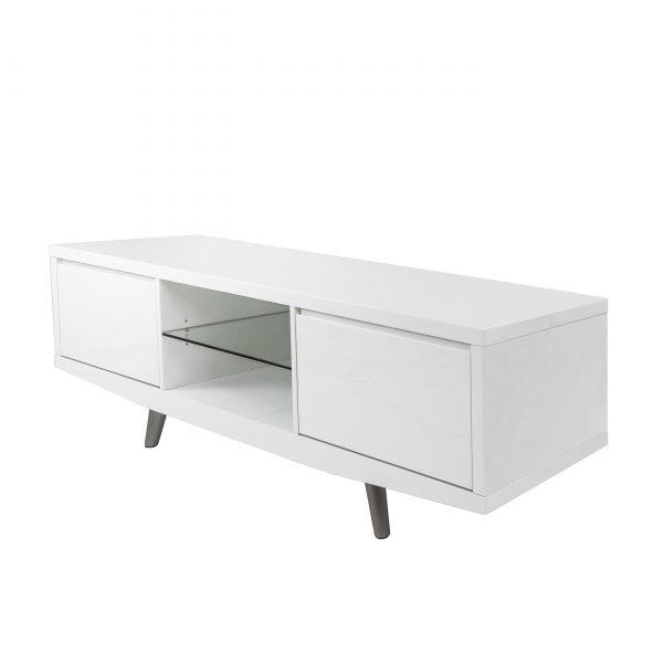 Leon TV Unit in White, Angle