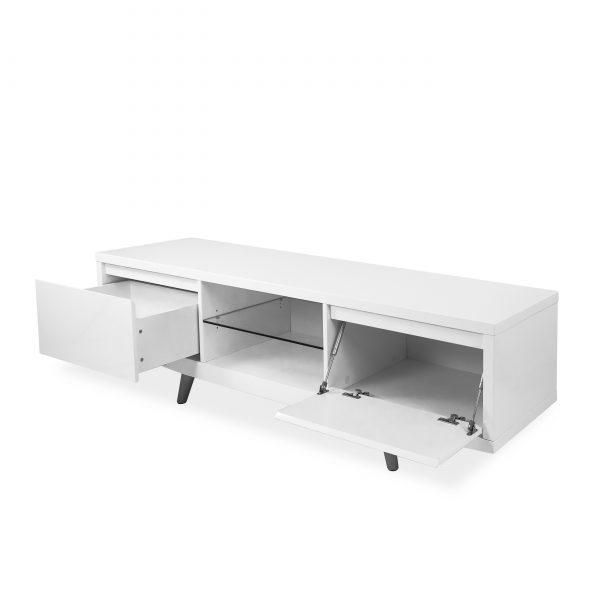 Leon TV Unit in White, Angle, Open