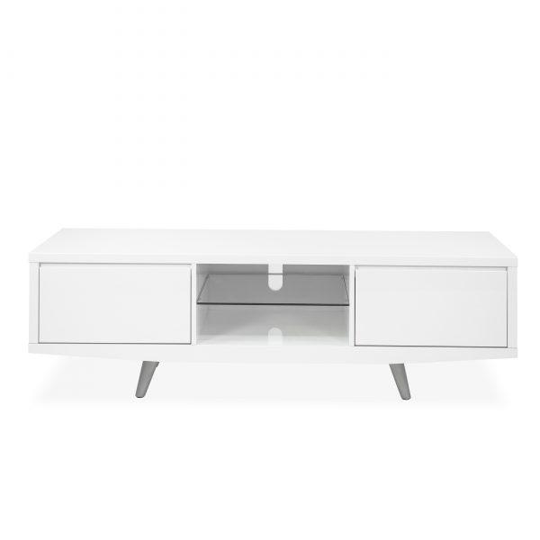 Leon TV Unit in White, Front