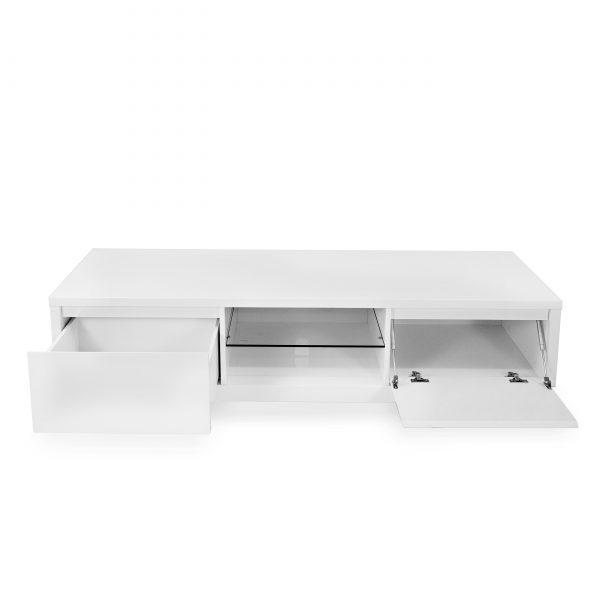 Leon TV Unit in White, Front, Open