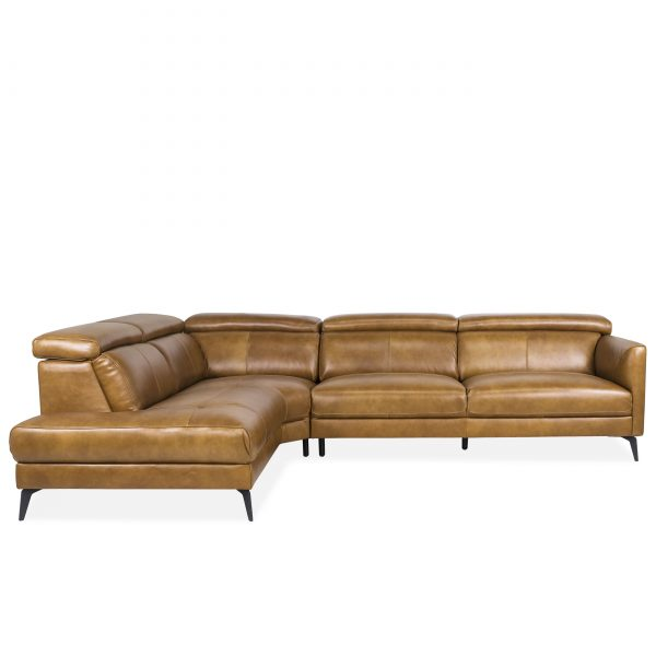 Marki Sectional in Tan Leather, Front, SL