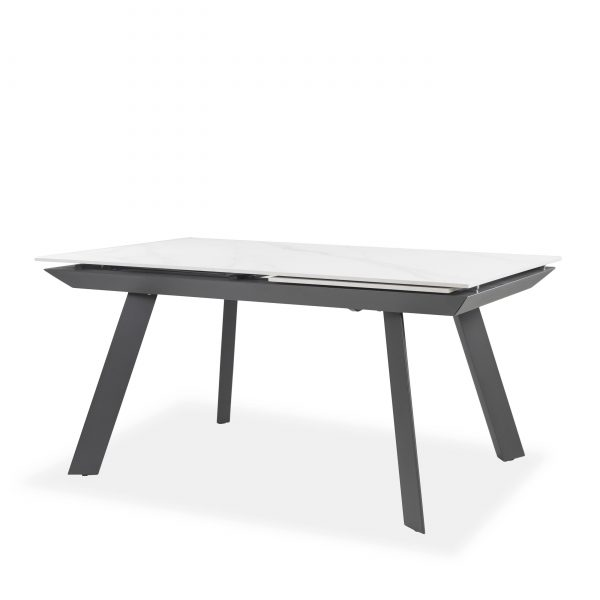 Talia Dining Table in White , Angle
