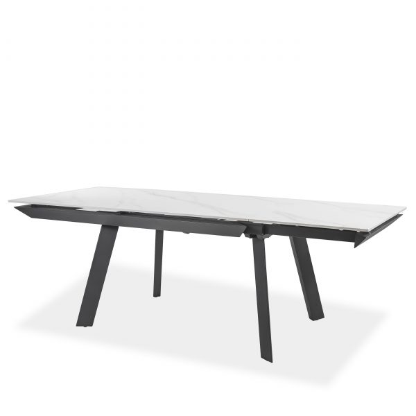 Talia Dining Table in White, Extended