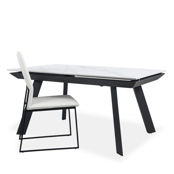 Talia Dining Table in White with Lara Chair