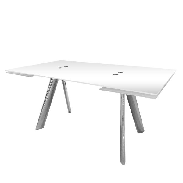Alamo Dining Table in White Glass