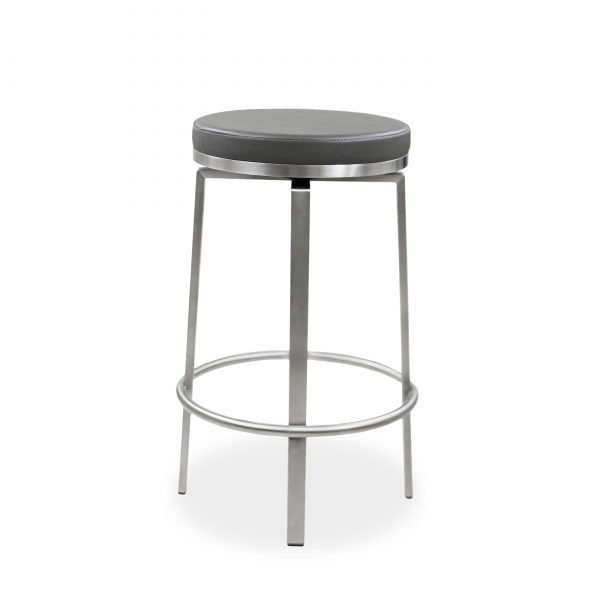 Claire Counter Stool in Dark Grey Vinyl, Angle