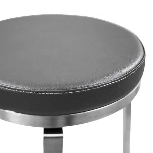 Claire Counter Stool in Dark Grey Vinyl, Close Up