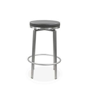 Claire Counter Stool in Dark Grey Vinyl, Front