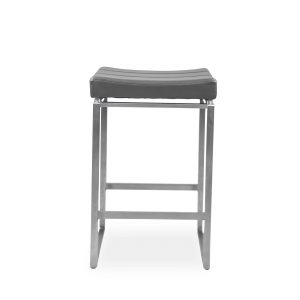 Emily Counter Stool in Dark Grey Vinyl, Front