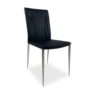 Harp Dining Chair in Black Vinyl, Angle