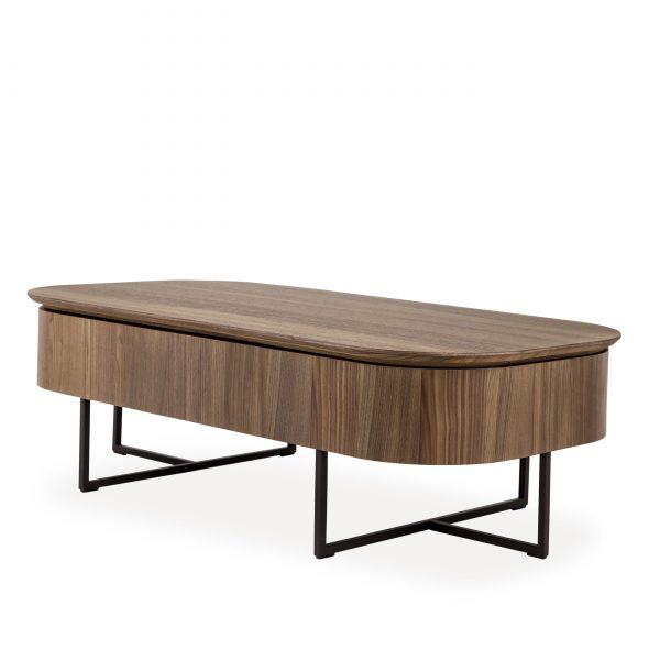 Spokane Coffee Table in Walnut, Angle