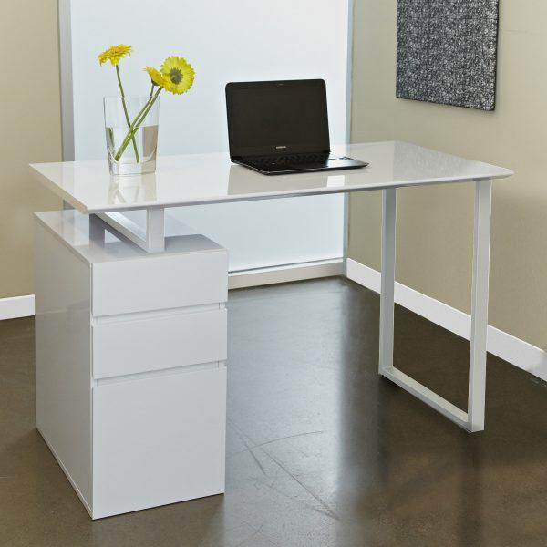 220 Pedestal Desk in White, Angle