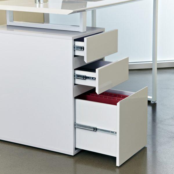 220 Pedestal Desk in White, Drawers