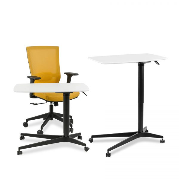 245 Lift Table in White, Showing in the lowered and raised position with a Yellow Rainbow Chair
