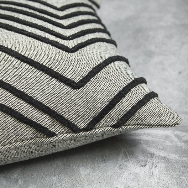 Chevron Grey Pillow, Close Up