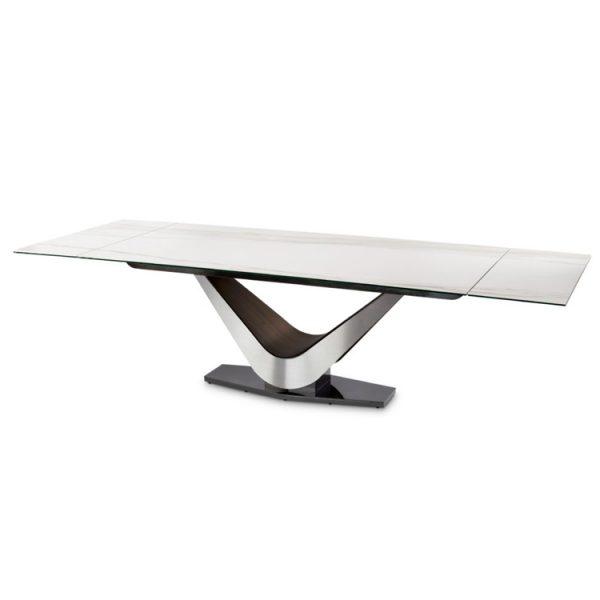 Elite Modern Victor 3018Cer Carbo Dining Table, Calcatta, Extended