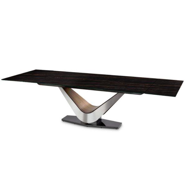 Elite Modern Victor 3018Cer Carbo Dining Table, Noir Desir, Extended