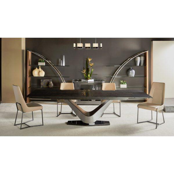 Elite Modern Victor 3018Cer Carbo Dining Table, Living Room