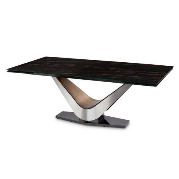 Elite Modern Victor 3018Cer Carbo Dining Table, Noir Desir