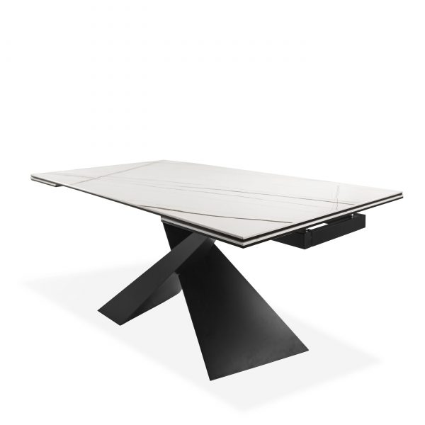 Bowen Dining Table in White, Angle