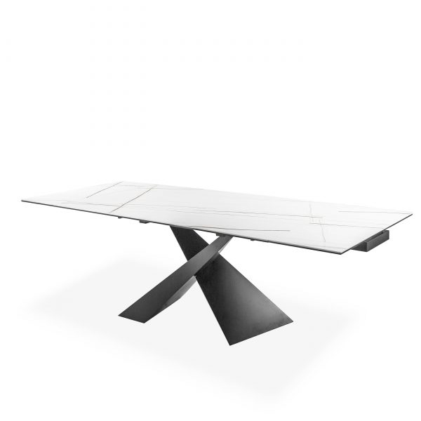 Bowen Dining Table in White, Angle, Extended